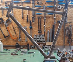 Tacked & first time out of the jig in one piece #ccycles #steelisreal #columbustubing #tangetubing #framebuilding