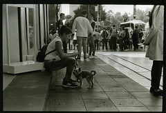 Girl and dog, Mexico City (coldwater wimp) Tags: mexico city woman dog bw ilford