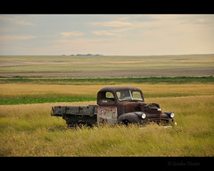 everything (Gordon Hunter) Tags: view country prairie rural flat level plains farm truck rust old field summer idyllic auto vehicle vintage decay abandoned derelict grass crops ab canada gordon hunter nikon d5000