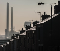 St Helens (stephenbryan825) Tags: northernengland sthelens architecture backlighting backlit buildings chimneypots chimneys construction dwelling edifice houses industrial manmade property roofs rooftops stronglight structure terracedhouses terraces