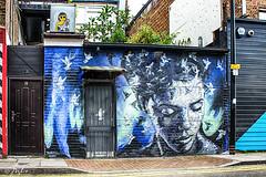 Psyche (JuliSonne) Tags: streetart urbanekunst mauer wall graffiti colors scene urban pasteup stencil street london shoreditch psyche jimmyc
