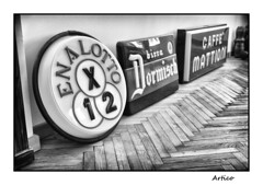 Old signs (Artico7) Tags: old signs vintage past bear 2 museum del 1 x cave caffè enalotto mattioni predil cavedelpredil raibl dormischbirra wood blackandwhite bw monochrome digital blackwhite mine fuji floor led museo biancoenero zinc miniera xe1 parquet