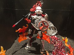 Burning Spinner (Armored Toa) Tags: lego bionicle toa norik ultimate metrunui moc custom spear power axe armored legend fire lava hagah kamenriderw