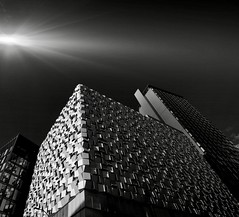 Cheese grater Q-Park. Sheffield edit (pigeonfeed1) Tags: canonm5 canon blackandwhite bw cheesegrater sheffield