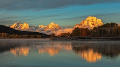Sunrise On The Snake (chasingthelight10) Tags: events photography travel landscapes foliage mountains meadows rivers sunrise sunset places wyoming grandtetonnationalpark oxbowbend willowflats snakeriver otherkeywords dawn willows things reflection