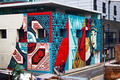 Mural for 30th Obey Anniversary (JuliSonne) Tags: streetart urbanekunst mauer wall graffiti colors scene urban pasteup stencil street london obey shoreditch shepardfairey