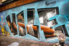 Lying Girl (JuliSonne) Tags: streetart urbanekunst mauer wall graffiti colors scene urban pasteup stencil street london shoreditch vile