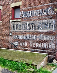 Upholstering, Winona, MN (Robby Virus) Tags: winona minnesota mn ghost sign signage furniture repairing made order upholstering painted wall ad advertisement
