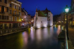 Annecy (karinavera) Tags: city longexposure night photography cityscape urban ilcea7m2 sunset annecy blue theoldprison tourism town france