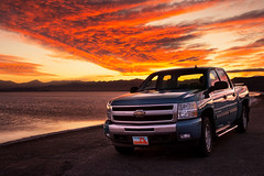 Parked (theskyhawker) Tags: car outdoors pickup truck motor vehicle chevrolet sky day evening sunset shoreline lake clouds fire bonneville salt flats wendover utah usa