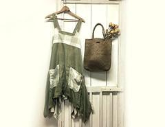 Linen Apron Dress - Women's Jumper - Lagenlook Clothing - Pinafore Dress - Smock Dress - Upcycled Clothing for Women - Size XL by PrimitiveFringe (Primitive Fringe) Tags: upcycled clothing boho shabby chic handmade etsy mori girl
