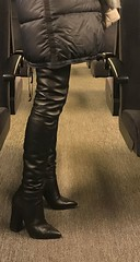 Weekend city trip Switzerland: Rosina in the train (Rosina's Heels) Tags: thigh high overknee heel leather boots