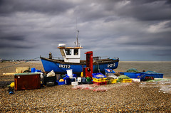 The Fisherman's Tale (Dimmilan) Tags: uk england suffolk aldeburgh landscape seascape coast beach nature sea ocean boat fishboat fishing sky clouds horizon water seaside pebbles