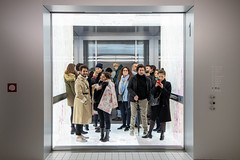 #unaware of being photographed (Gabi Breitenbach) Tags: frame hightech modern musée museo prada italy europe mirrorless canon fondazioneprada elevator people ascensore ignorant inconsciente 本次 主題 不知道 ahnungslos desprevenido unaware flickrfriday aufzug lift art museum artgallery movielike stillife