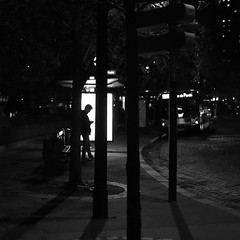 In the urban forest (pascalcolin1) Tags: paris13 placeditalie homme man nuit night lumière light arbres trees poteau post forest forêt ombres shades bus photoderue streetview urbanarte noiretblanc blackandwhite photopascalcolin 50mm canon50mm canon