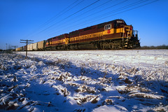 242 after an early snow (Moffat Road) Tags: wisconsincentral wc 242 emd sd45 6574 train242 snow flare duplainvilleroad duplainville wisconsin freighttrain train railroad locomotive wi