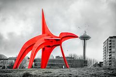 Nudging the Needle (KPortin) Tags: seattle olympicsculpturepark sculpture calder eagle spaceneedle hss selectivecolor blackandwhite red birdbrush foggy