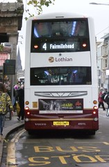Lothian 1143 on Princes Street, Edinburgh (calderwoodroy) Tags: bus scotland edinburgh princesstreet doubledecker lothian lothian100 lothianbusescentenary lothianbuses edinburghtransport transportforedinburgh 1143 service4 lx60dwy b9tl volvo wrightbus eclipsegemini2