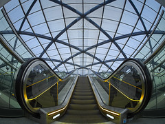 Up, up and away (Ulrich Neitzel) Tags: architecture architektur bahnhof elbbrücken escalator fisheye hafencity hamburg lines linien metro olympusem1 rolltreppe station subway ubahn upwards walimex75mm symmetry
