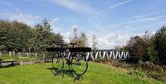 Big Posties in Cheshire! (Gerry Hat Trick) Tags: wednesdaywalk walking walk hiking hike cheshire northwich sculpture woodland cycle bike large postie postman whittonmillbridge countrypark