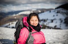 Heureuse d'être arrivée tout en haut de la montagne (Kilian Sanlis) Tags: neige snow winter hiver la bresse vosges nature wild motherwood hiking randonnée woman portrait