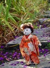 Geisha in Purple Flowers (Emily1957) Tags: japanesepurple flowers geisha kimono purpleflowers light naturallight nikond40 nikon toys toy dolls doll