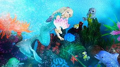 Trina and Flip frolic with friends around the Reef (custombase) Tags: schleich bayala mermaid dolphin seal toyphotography