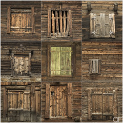 Windows of Saas Fee (A.Reef (slow)) Tags: squareformat wood old windows swiss vintage collection
