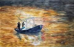 Pesca Nocturna (benilder) Tags: acuarela aquarelle watercolor watercolour nocturna night pesca marina salondelaacuarela benilde art