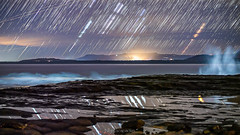 Trials and Trails (nightscapades) Tags: astronomy astrophotography betelgeuse blackhead blackheadpoint gerroa illawarra kiama multipleexposure nightscapes orion reflection rigel southcoastnsw startrails stars trails waves wollongong newsouthwales australia