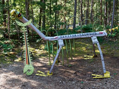Savitskisaursus (Rev.Gregory) Tags: savitskisaursus polonia flag coatofarms sculpture art park lakenenland polish fish forest woods michigan upperpeninsula