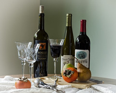 111719 Still Life with Wine 5 (wildcatlou) Tags: november autumn stilllife 52frames tabletop fruit wines crystal glass persimmons pears