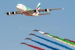 A6-EEZ and Al Fursan (Powercube) Tags: emiratesa380 emirates ek uaeairforce alfursan airbus airbusa380800 airbusa380 airbusa380861 dubaiairshow omdw dwc