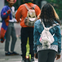 The Stowaway Part 5 (Ian Sane) Tags: ian sane images thestowawaypart5 girl friends animal backpack purse candid street photography southwest downtown portland oregon broadway canon eos 5ds r camera ef100400mm f4556l is usm lens whimsicalwednesday