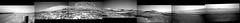 Gale Crater Panorama, Mid-November 2019 (sjrankin) Tags: 18november2019 edited grayscale nasa mars msl curiosity galecrater sky haze rocks dust panorama mountsharp mountains