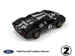 1966 Ford GT40 - LeMans Winner #2 (lego911) Tags: ford gt40 1966 lemans racer gt classic 1960s midengine v8 chrisamon fordvsferrari usa american auto car moc model miniland lego lego911 ldd render cad povray racingstripes