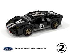 1966 Ford GT40 - LeMans Winner #2 (lego911) Tags: ford gt40 1966 lemans racer gt classic 1960s midengine v8 chrisamon fordvsferrari usa american auto car moc model miniland lego lego911 ldd render cad povray racingstripes foitsop