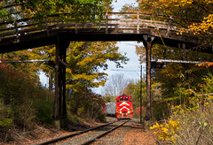 Show and Tell (Wheelnrail) Tags: vermont railway rail train trains vt railroad tell tale emd gp402 npwj wooden bridge freight fall autumn color locomotive eastern new england red vtr vrs