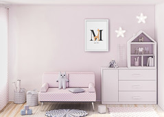Mockup wall in child room 3d rendering (samknight.design) Tags: interior room bed bedroom sofa home furniture white house wall hotel living luxury couch window lamp floor apartment decor empty pillow chair livingroom comfortable pink mockup poster frame child kids brand branding clean scandinavian modern style 3drendering ukraine