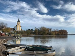 sunny day (Slávka K) Tags: church sky clouds slovakia lake boats trees coast atmosphere sunnyday myday reflection blue 2019