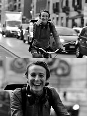 Daniela è la 23.531esima ciclista che [Pedala] ne[La Mia Città] (Urca) Tags: milano italia 2018 bicicletta pedalare ciclista ritrattostradale portrait dittico bike bicycle nikondigitale tina biancoenero blackandwhite bn bw 2018101570 danielabiffi