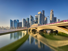 Clear Blue Skies (Scintt) Tags: singaporewideangle traditional city cityscape hall marinabay rafflesplace tanjongpagar financial cbd central business district offices towers skyscrapers skyline sky clouds sun light morning early contrast blue tones travel tourism architecture buildings urban modern exploration steps waterfront water pond scintt scintillation jonchiangphotography fullerton bridge hotel expensive grain diy self processed longexposure slowshutter neutraldensity sony a7rii 1635 panorma pano stitched golden reflection clear