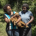 Julie Ojango (left), animal breeding scientist, ILRI, with Poline Achieng (right), farmer