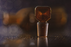 glass stopper (Emma Varley) Tags: bottle brown glass antique vintage old macromondays lid stopper reflection