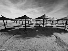 umbrellas (in explore) (Love me tender ♪¸.•*´¨´¨*•.♪¸.•*´) Tags: umbrella shadows beach autumn light sky kavouri greece dimitrakirgiannaki photography blackandwhite landscape seascape sea object symmetry shapes many