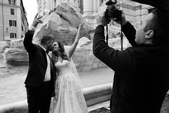 (Matrimonio Alla Romana) (Robbie McIntosh) Tags: leicam9p leica m9p rangefinder streetphotography 35mm leicam autaut candid strangers leicaelmarit28mmf28iii elmarit28mmf28iii elmarit 28mm man blackandwhite monochrome bw rome roma fontanaditrevi wedding