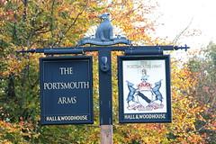 The Portsmouth Arms pub sign Basingstoke Hampshire UK (davidseall) Tags: the portsmouth arms pub sign basingstoke hampshire uk pubs signs inn tavern bar public house houses gb british english heraldic hanging hall woodhouse