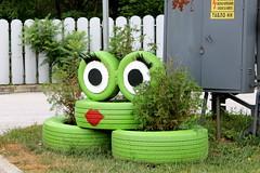 Green Kiss (JULIANA LEFTEROVA) Tags: urbanexploring urbanlandscape environment environmentalthinking joke gasstationdecoration green kiss decoration