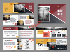 Multipage Brochure, Leaflet Design Pack in Yellow and Red Color. (Rifaah_Graphics) Tags: abstract business brochure flyer leaflet catalog cover corporate template stationery company identity booklet document page spa infographics infographic illustration