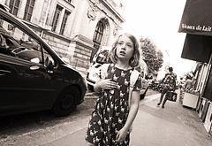The Feeling Inside (kirstiecat) Tags: girl child paris dress monochrome monochromemonday negroyblanco noiretblanche blackandwhite street canon feelings emotions emotional gesture hand melancholy melancholia beauty beautiful noir et blanc